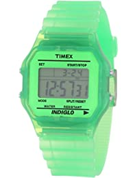 Timex Unisex T2N806 Classic Digital Green Translucent Case and Strap Watch