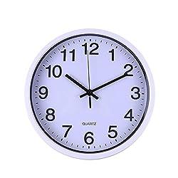 YJYDADA Clock, Silent Sweep Modern Graceful Bell Desk Creative Digital Clock (White)