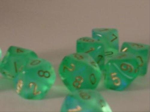 Chessex Dice Sets: Borealis Light Green with Gold - Ten Sided Die d10 Set (10) ()