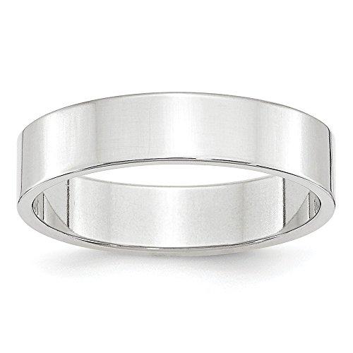Sandblast 14k Gold White - JewelrySuperMart Collection 14k White Gold 5mm Plain Flat Classic Wedding Band - Size 8