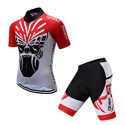 HZTWS Men's Cycling Suits,Short Sleeve Quick Dry Breathable 3D Cushion Padded ,Cycling Combo Set (Size : XXXL)