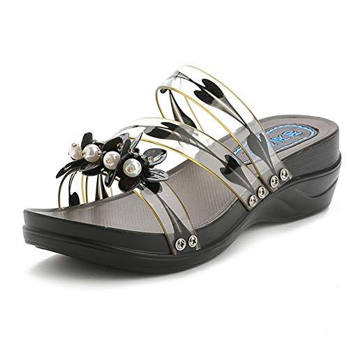 (JOYBI Women Fashion Platform Slides Sandals Open Toe Comfort Flower Slip On Wedge Mid Heel Slipper Shoes)