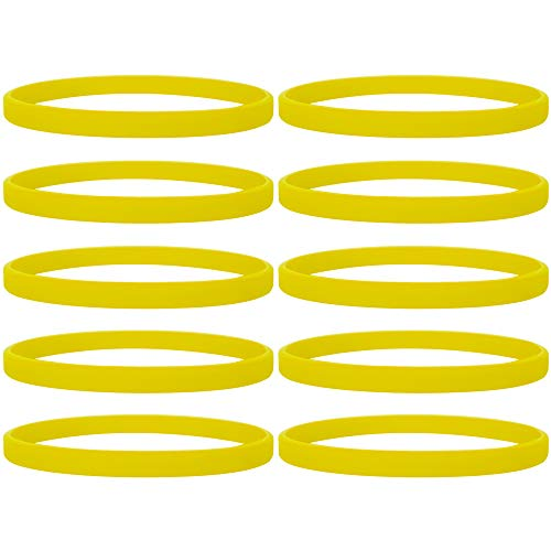 GOGO 100 Pcs Thin Silicone Wristbands, Rubber Bracelets, Party Favors-Yellow