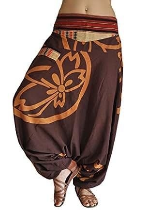 Pantalones bombachos hombre y mujer virblatt con tejidos tradicionales talla única pantalones cagados con patrón de flor de loto, S - L ropa hippie - Anders