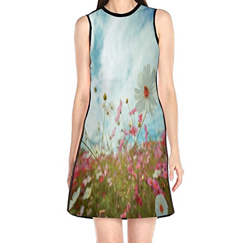 s Women's Fashion Sleeveless Mini Dress Print Party Dress Tank Dress (Cosmic Garden)