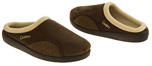 Hombre Coolers zapatillas abiertas acolchadas de mula Marrón