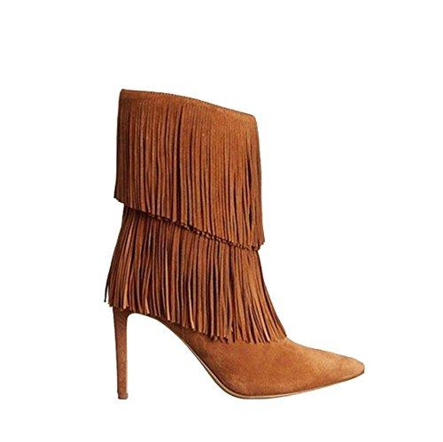 tobillo borla Botas señalaron BROWN de Moda de BROWN ante tacones Corto Mujer 38 altos Piel zapatos fina 41 RYqwwOgHW