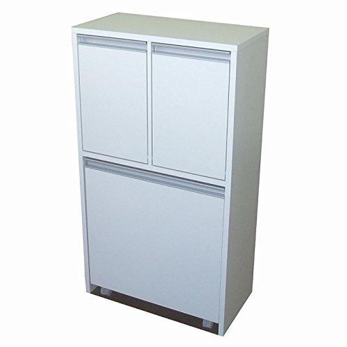 【室内設置サービス付き】家具製造直販TAICHI -見せるゴミ箱収納家具調3分別ダストボックス/ホワイト B015DV2PP8 ホワイト ホワイト