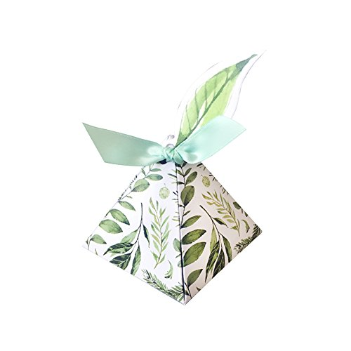 Colias Wing 50 pcs Attractive Forest Serises Leaves Pattern Pyramid Shape Design Wedding Birthday Party Favor Candy Boxes with Ribbon-Green&White