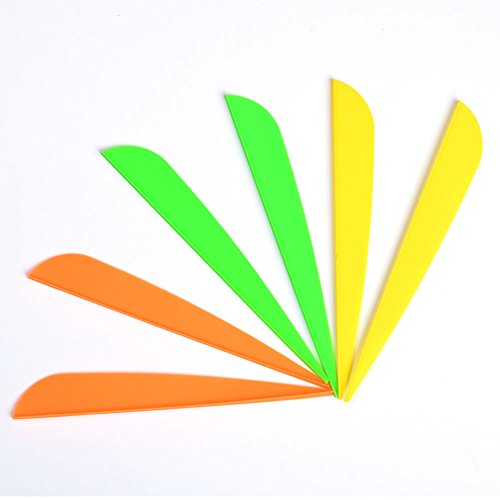 (4 inches Arrows Vanes Plastic Archery Feather Fletching Vanes DIY Own Archery Arrows 34 Pack Yellow 34 Pack Orange 34 Pack Green )