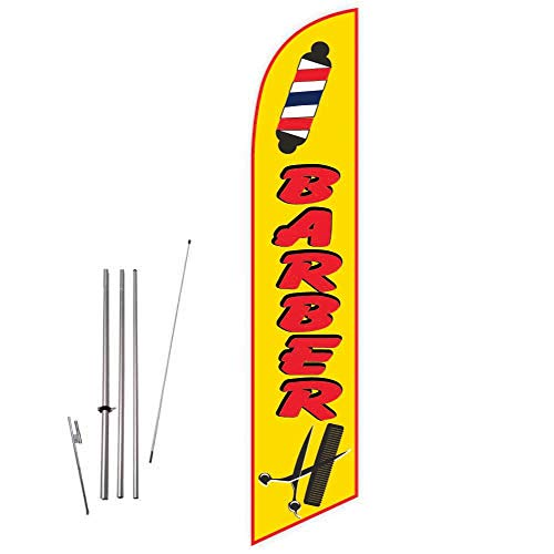 Cobb Promo Barber (Yellow) Feather Flag with Complete 15ft Pole kit and Ground Spike