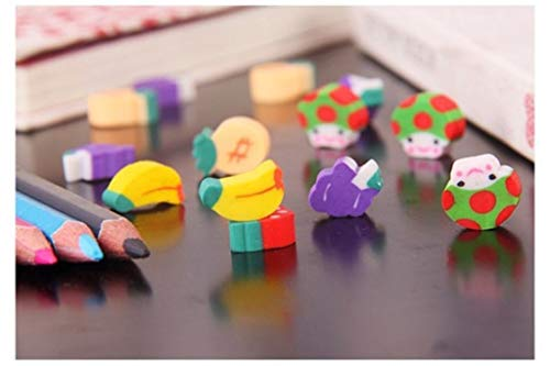 100pcs New Novelty Students Children Lovely Colorful Fruit Pencil Rubber Eraser kids Gifts Wholesale and Retail by PPL21 (Image #4)