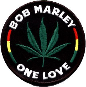 (Bob Marley One Love Round Leaf Embroidered Patch)