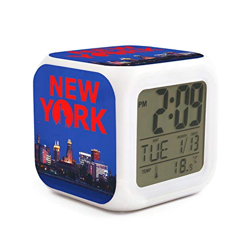 DHBVNMQHHT Alarm Clock Wake Up Bedroom with Data and Temperature Display (Changable Color) Size L8cm x W8cm xH8cm New York Statue of Liberty