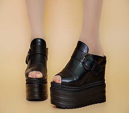 XiaoGao de Black grueso y fondo centímetros de sandalias tacon alto zapatillas Verano 14 rSn7zrq