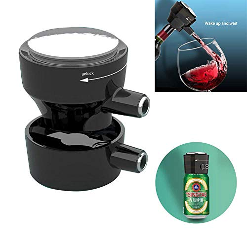 MOGOI Electric Wine Aerator, Battery Operated Wine Pump Dispenser Quickly Oxidizes Decanter for Red and White Wine with Pourer Spout Fits Most Bottles, One Touch Control ()