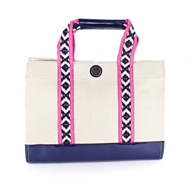 TORY BURCH Canvas Tory Tote Bag Natural Navy Blue Vinyl