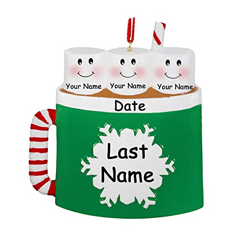 Personalized Marshmallow Family of 3 Christmas Ornament - Hot Cocoa Coffee Mug with Snowflake Detail - Your Choice Names and Date (Ornament Favorite Frostys)