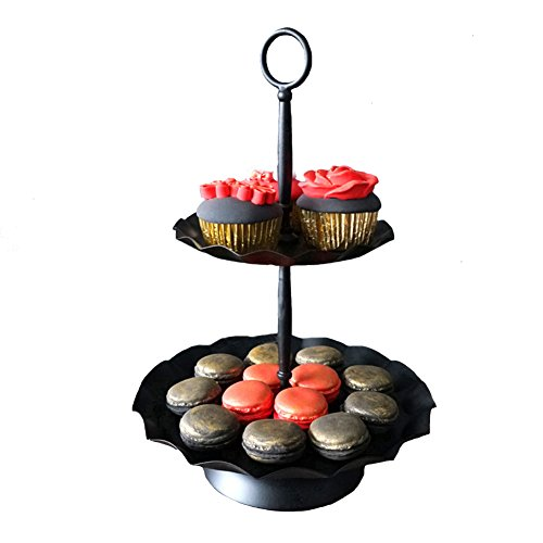 2 Tier Cupcake Stand, Botitu Black Cupcake Holder Tower with Plate- Stainless Steel Tiered Cake Stand Plate- Reusable Dessert Serving Stand- Hold 13 Cupcakes Display for Wedding Party(13.8 inch tall)