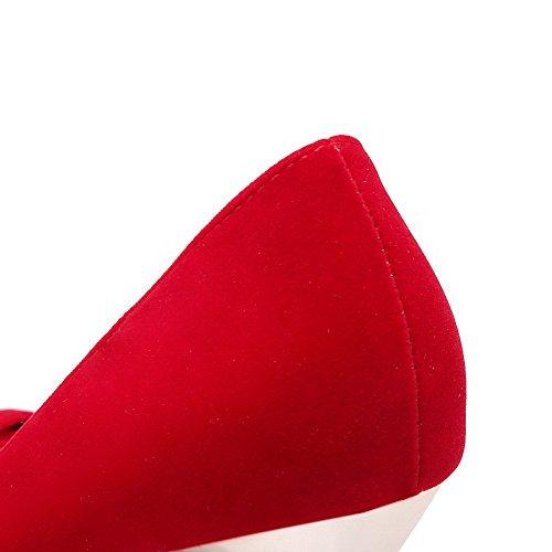 Odomolor Mujeres Sólido Tacón de aguja Puntera en Punta Cerrada De salón con Diamante Rojo