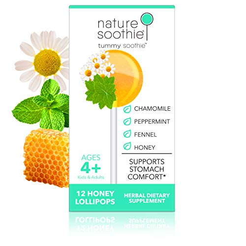 nature soothie Tummy Honey Lollipops - Herbal Supplement - Kids & Adults Natural Stomach & Digestion Comfort Pops - Herbal Extract Blend - Gas Relief - Motion/Car Sickness Suckers - 12 Count