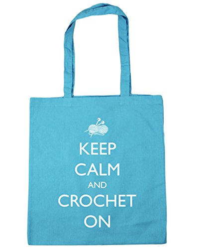 42cm On 10 Blue litres HippoWarehouse Bag Crochet x38cm Surf Gym Shopping Keep Tote Beach Calm and 4qq7Uvwx
