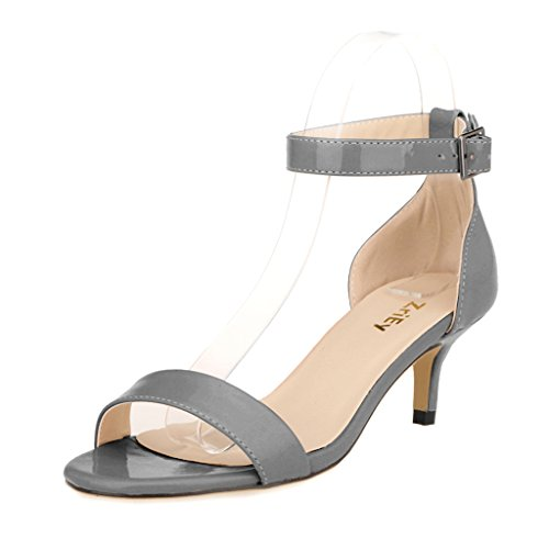 Grey Heels Shoe - ZriEy Women Sexy Open Toe Ankle Straps Low Heel Sandals Grey Size 7