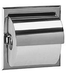 Bobrick 6697 Stainless Steel Recessed Toilet Tissue Dispenser with Hood and Mounting Clamp, Satin Finish, 6-1/8\