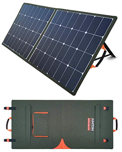AIMTOM SolarPal 100W Portable Solar Panel for Power Station, Solar Generator, Phone and Laptop, Foldable Solar Power Charger for Camping, RV, Home with QC USB, 18V DC Port and MC4 Output