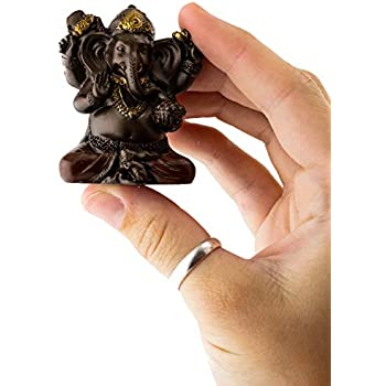 Top Collection Mini Ganesh Statue - Ganesha Lord of Success Sculpture in Premium Cold Cast Bronze with Colored Accents - 2-Inch Collectible New Age Hind God Figurine (Sm. Ganesh)