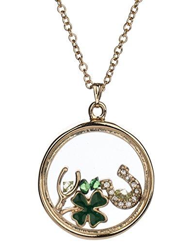 Jewelry Nexus Gold-Tone Irish Theme Clover Wishbone Horseshoe & Luck Floating Charm Locket Necklace