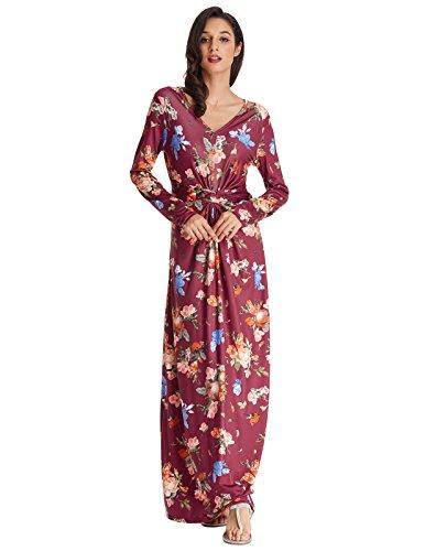 GRACE KARIN Women Floral Maxi Dress V Neck Boho Maxi Wrap Dresses 2XL Burgundy