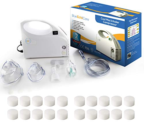 Cool Mist Compressor with 20 Filters and Carrying Case! FDA and ISO Approved Quiet Breathing Machine for Kids and Adults Includes Tubing, Mouthpiece, 2 Masks, Treatment System Kit for Travel