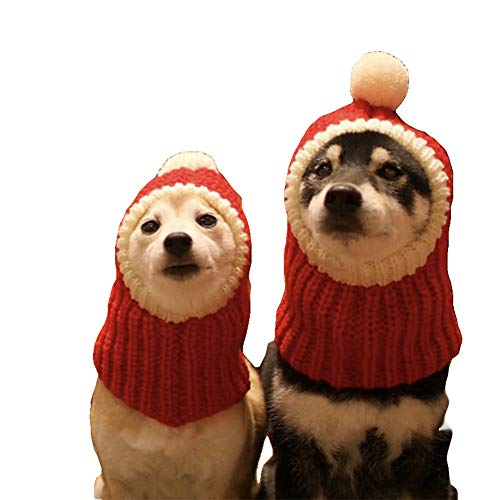 NACOCO Funny Christmas Dog Hat wiht Pompon Crocheted Snood Dog Hat Red Warm Winter Dog Hat Knit Snood Headwear for Pets & Women & Man (S)