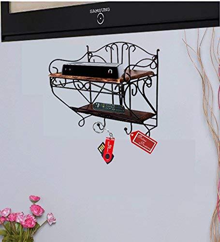 Onlineshoppee Wooden   Iron Beautiful Design Set Top Box Wall Shelf