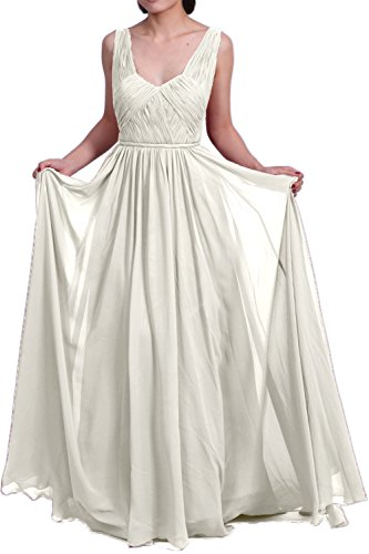 MACloth Women Straps V Neck Chiffon Long Prom Homecoming Dress Formal Party Gown Marfil