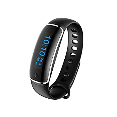 Waterproof Fitness Tracker with Heart Rate Monitoring, Blood Pressure Measurement, Sleep Monitoring, Pedometer, etc. Smart Bluetooth Bracelet/ Wristband Watch Work with Android and iOS Device (Black)