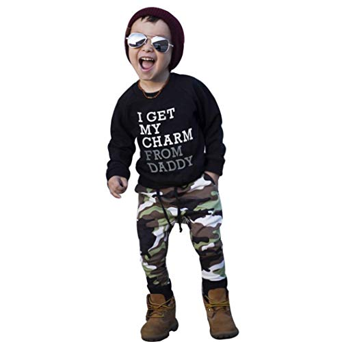 Drindf Boys Clothing Baby Clothes Toddler Kids Boy Letter T Shirt Tops+Camouflage Pants Outfits (2-3 Years Old, Black) -