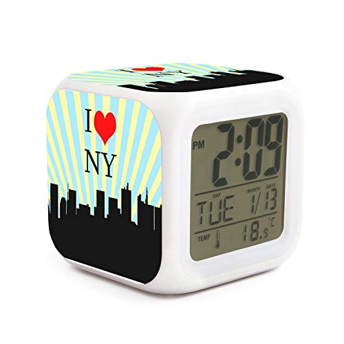 DHBVNMQHHT Alarm Clock Wake Up Bedroom with Data and Temperature Display (Changable Color) Size L8cm x W8cm xH8cm New York New York