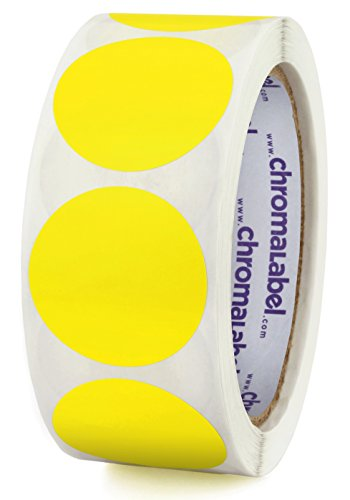 ChromaLabel 1-1/2 inch Color-Code Dot Labels   500/Roll (Yellow)