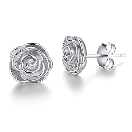 (Esberry 18K Gold Plating 925 Sterling Silver Rose Stud Earrings Hypoallergenic Flower Earrings Jewelry for Women and Girls (White Gold))