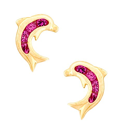 14K Yellow Gold Dolphin Stud Kids Earrings With Safety Screw Backs (July-Ruby)