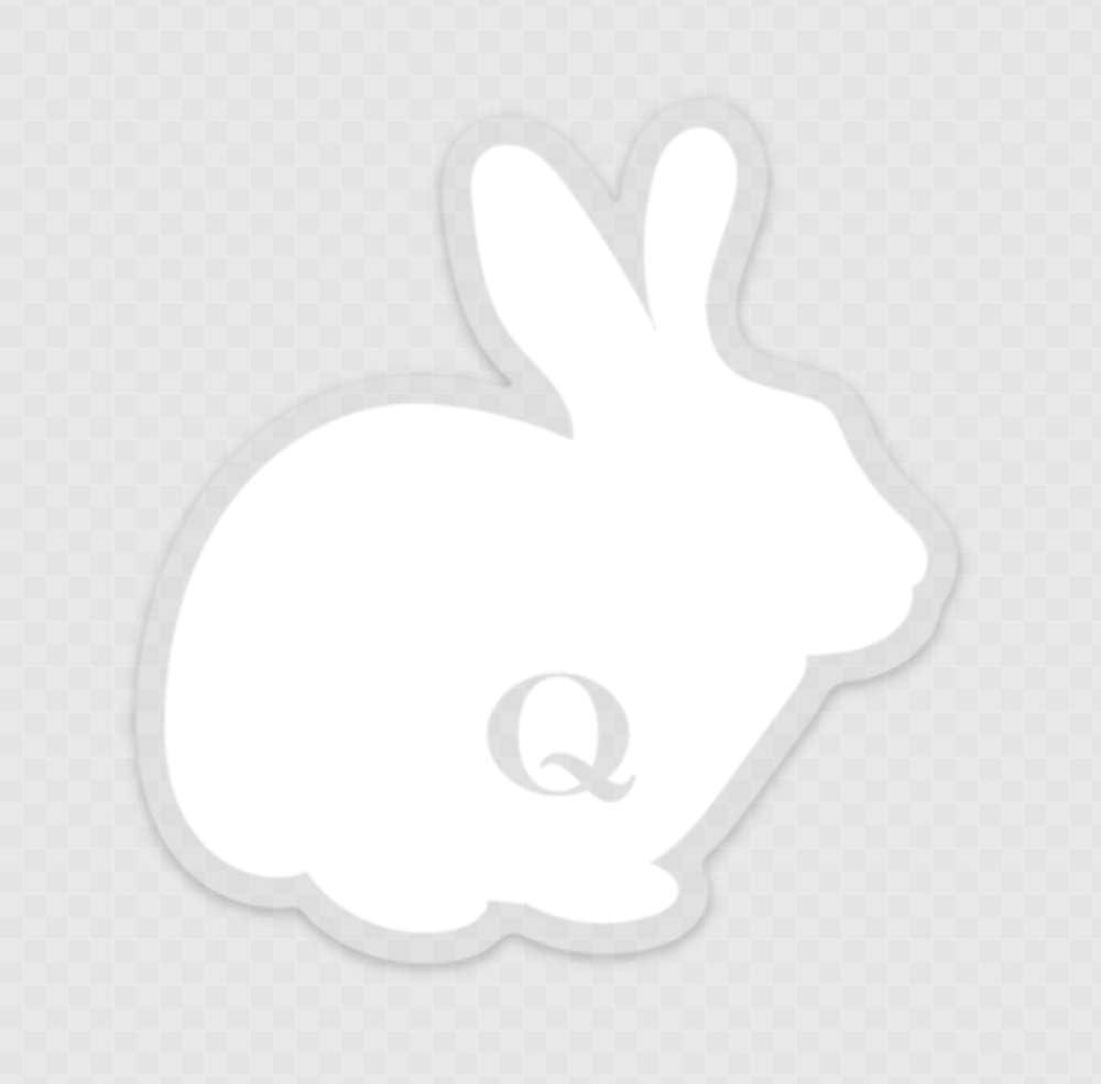 Adhesivo transparente con dise/ño de conejo blanco Q Anon QAnon