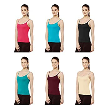ROCKWREN Women's Ladies Cotton Camisole Adjustable Strap Slips Pack of 6