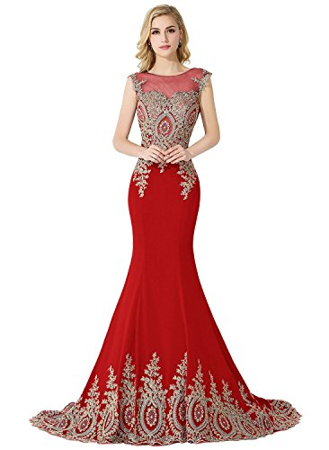 (MisShow Women's Embroidery Lace Long Mermaid Formal Evening Prom Dresses,Red,Size 16)
