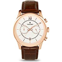 Vincero Luxury Men's Bellwether Wrist Watch — Rose Gold/White with Brown Leather Watch Band — 43mm Chronograph Watch — Japanese Quartz Movement