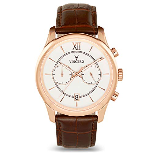 (Vincero Luxury Men's Bellwether Wrist Watch — Rose Gold/White with Brown Leather Watch Band — 43mm Chronograph Watch — Japanese Quartz Movement)