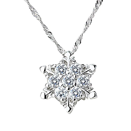 Women Crystal Necklace,1PC Chic Snowflake Pendant Rhinestone Party Xmas Elegant Necklace Jewelry Gift (White)