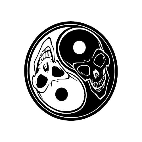 MCKK Cutter Skull Ying YANG CAR Decal Sticker Die Cut Vinyl Decal, for Windows, Car, Toolbox, MacBook, Laptops, White (Computer Stickers Ying Yang)