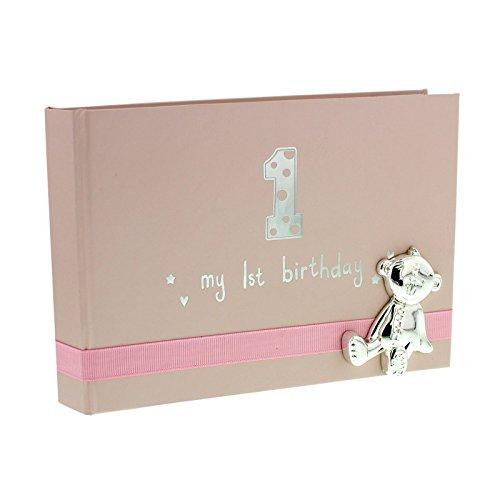 Button Corner My 1st Birthday Pink Girls First Birthday Photo Album with metal teddy icon by Button Corner